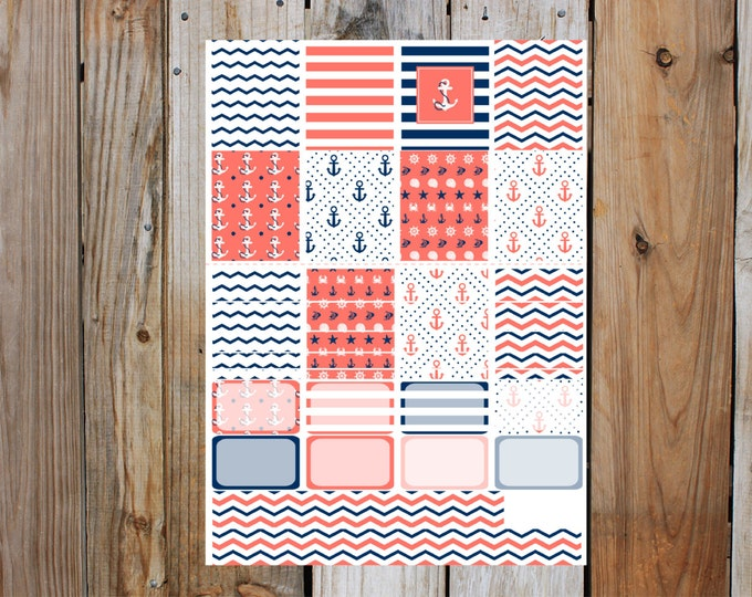 Nautical Dreams Boxes, half boxes and Washi Planner Sticker Sheet, for Erin Condren Life Planner