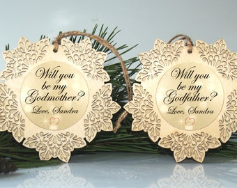 Will you be my Godparents ornaments-Will you be my Godmother-Will you be my Godfather-Asking godparents-Godparents ornament-Godparents gift