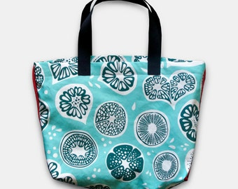 Frutti Tote in Blue white, Light Grey Nylon Water Repellent Lining