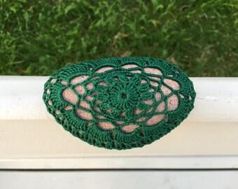 Crochet Stone - Crochet Rock - Crochet Paperweight - Crochet Table Decor - Green Lace Sea Stone - Stone Decor