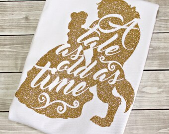 Tale as Old As Time Shirt, Belle, Princess Shirt, Princess, Glitter Princess Shirt, Beauty Shirt, Tale as Old As Time, Fairytale,Rose,Beast