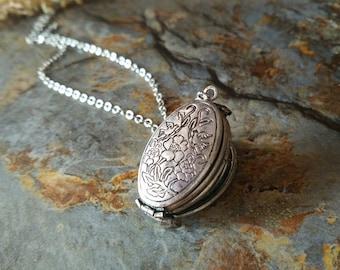 Vintage style locket necklace,floral locket necklace,four photo locket necklace