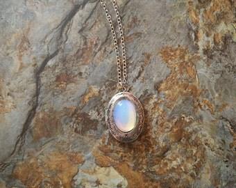 Vintage style locket necklace,moonstone necklace,moonstone locket necklace,moon stone necklace