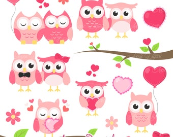 Valentines Owl Clipart Scrapbook printables, holiday clip art set for Commercial Use. Valentine's day vectors graphics