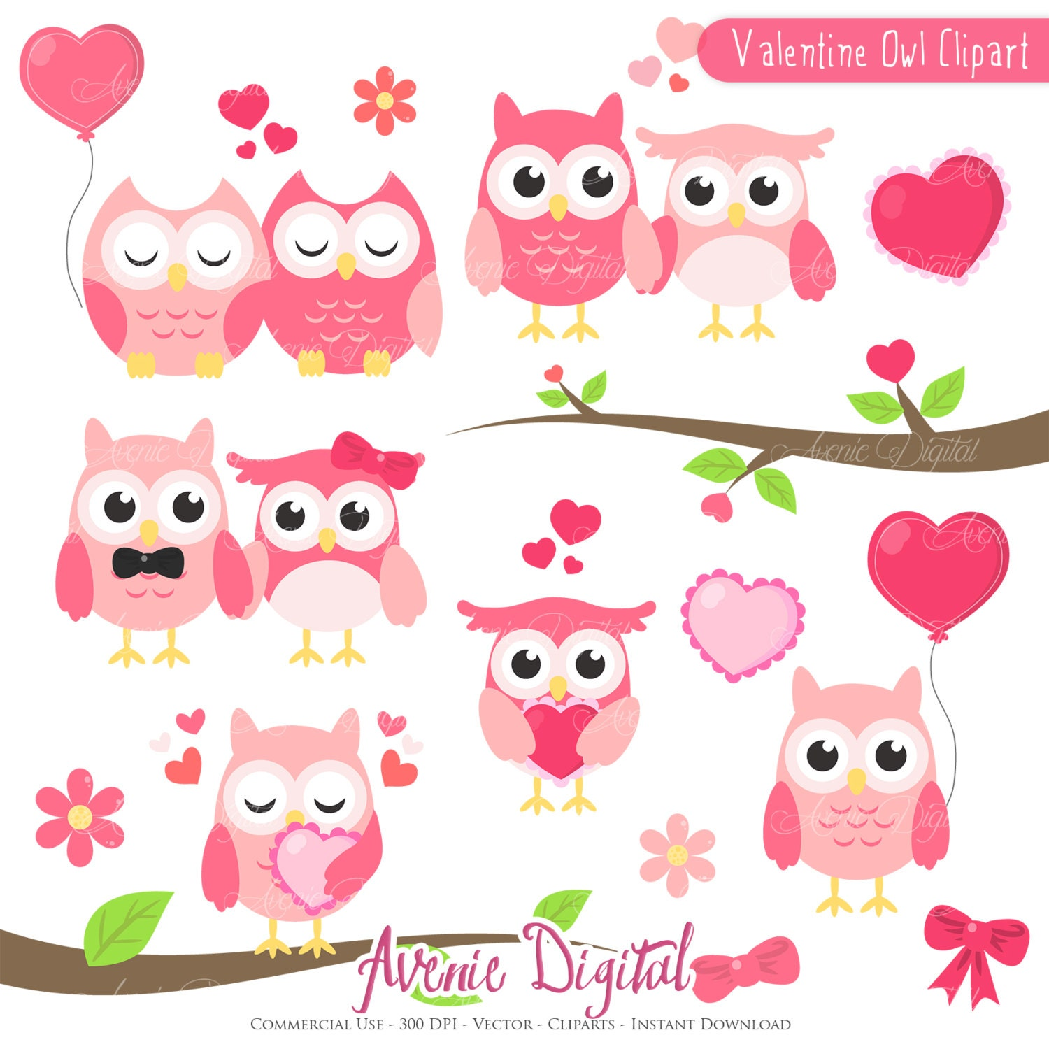Valentines Owl Clipart Scrapbook printables, holiday clip ...