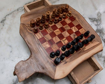 Chess,wood chess , natural wood chess , olive wood chess , chess medium size , Tunisian chess, olive wood rustic chess.