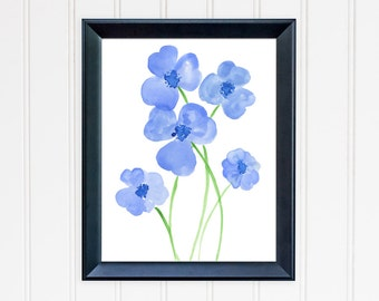 Blue Pansy Art Print. Abstract Pansies Wall Art. Watercolor Art. 8x10 Print. Mothers Day Gift. Nursery Wall Art. Gift for Mom. Gift for Her.
