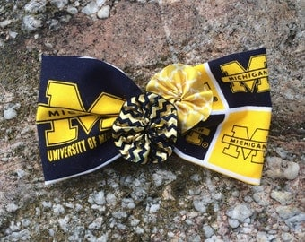 University of Michigan Hair bow; Wolverines; Blue and Maize; football; bows