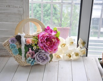 Flower straw bag production Restore ancient ways small pure and fresh and rural straw bag fashion handbags hand