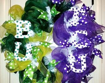 Made to Order, House Divided Wreath, Texas Collegiate wreath, Football wreath, TCU wreath, Baylor wreath