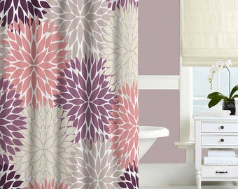 Purple Shower Curtain, Dusty Purple Blush Pink Beige Bathroom Curtains, Floral Bath Curtain, Bohemian Bathroom Decor, Boho Shower Curtain