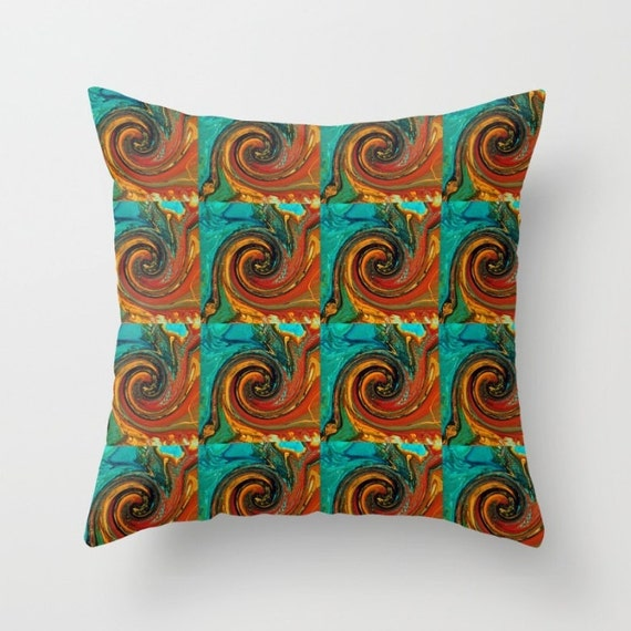 teal and orange pillow turquoise pillow burnt by designbyjuliabars. Black Bedroom Furniture Sets. Home Design Ideas