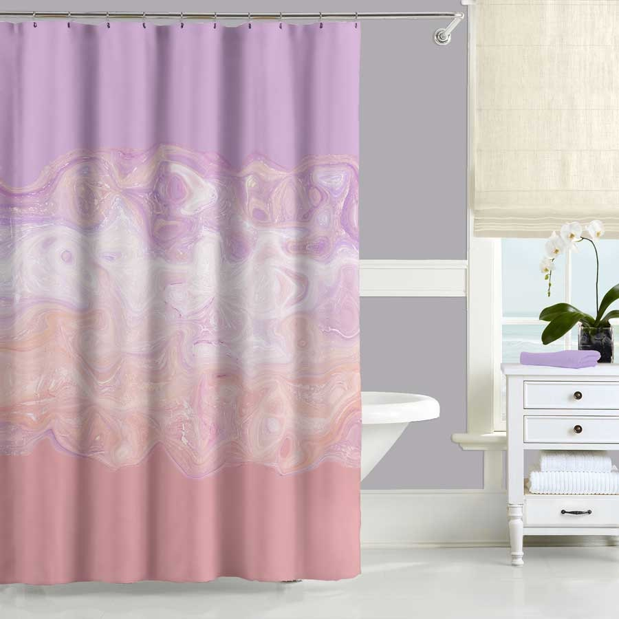 Blush Pink Bathroom Decor : Blush pink shower curtain purple abstract