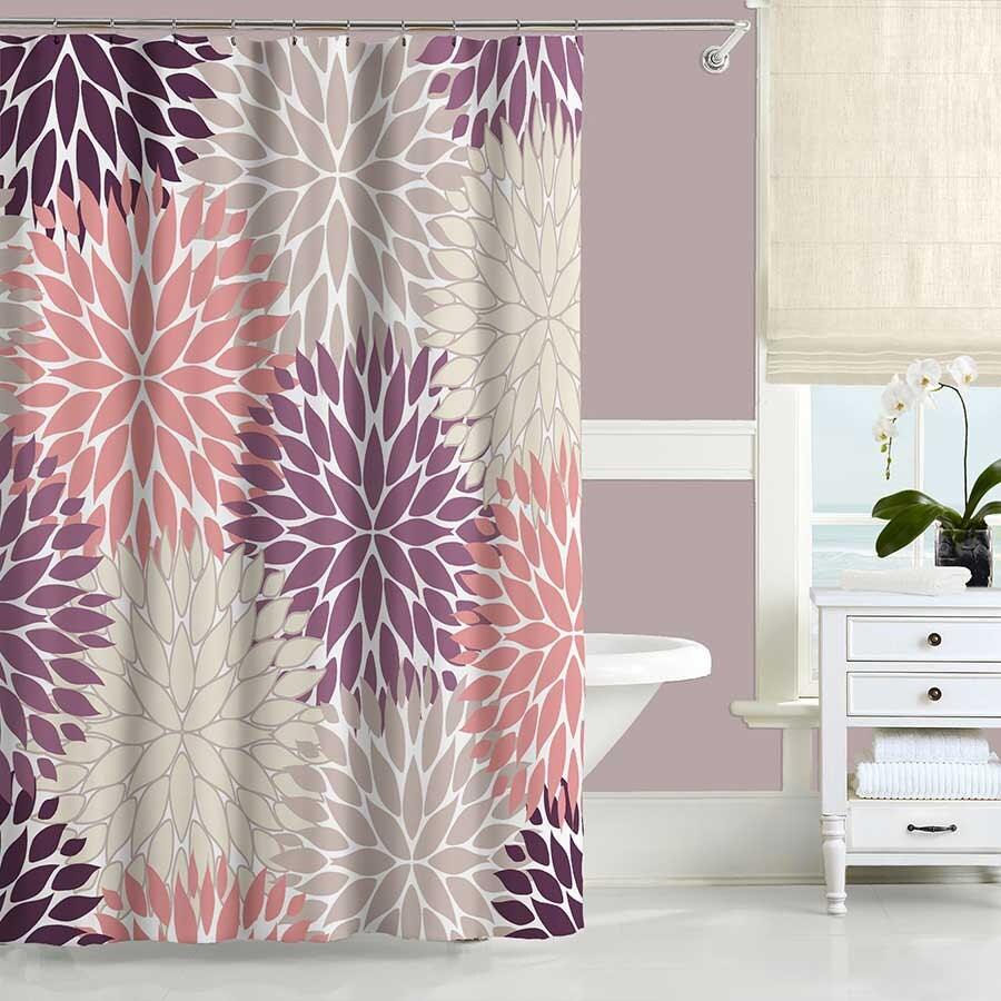 purple shower curtain dusty purple blush pink beige bathroom
