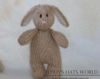 Stuffed Bunny Photo Prop Knit Brown Bunny Rabbit  Newborn Baby Photo Prop Floppy Ears Hand Knitted Bunny Stuffed Animal Photo Prop