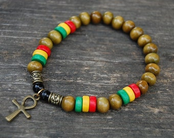 Rasta Ankh Cross Bracelet,Wood beads,Egyptian Ankh Cross,Key of Nile,Key of Life,Crux Ansata,Man,Woman,Rasta Bracelet,Ankh Cross Bracelet