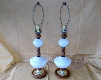 Vintage Pair Tall Hobnail Table Lamps