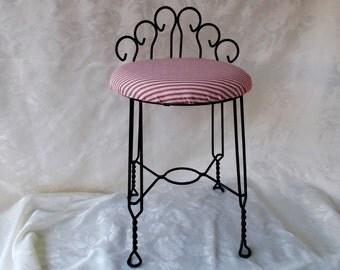 Mid Century Hollywood Regency Scrolled  Metal Vanity Chair Stool
