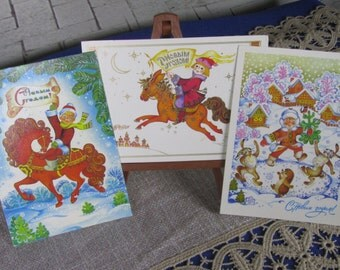 Three CLassic Winter Christmas Pictures of Zhukova, Never Been used NEW Post Cards for Christmas Time, New Year Celebration Post Cards New