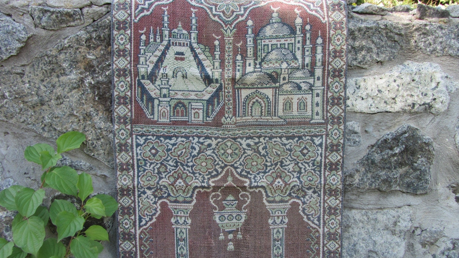Cotton/silk vintage prayer rug, Christmas Eastern  small tablecloth, cotton/silk