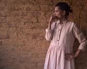 Riga, Pure Khadi Long Vintage Pink Dress with Grey Hand Embroidery