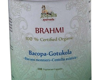 Organic Brahmi+Gotukola Capsules  - 108 Vcaps (USDA Certified Organic) - Gopala Ayurveda