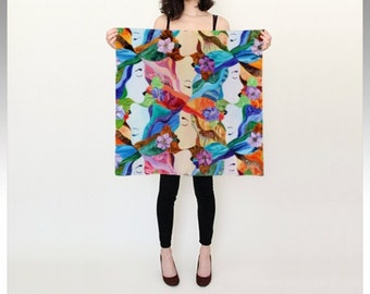 """Tessellation Square Silk Scarf (26"""" or 36""""), """"Everywoman,"""" for busy women who wear too many hats by Kris Noble of KNobleStudio"""