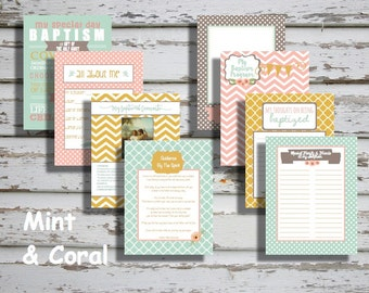 Mint & Coral Girl LDS Baptism Printable Memory Book - Instant Download