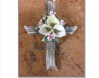 Porcelain Cross Pin, Communion favor, baptism favor