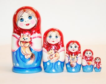 Nesting doll Girl with cat for kids russian matryoshka babushka dolls
