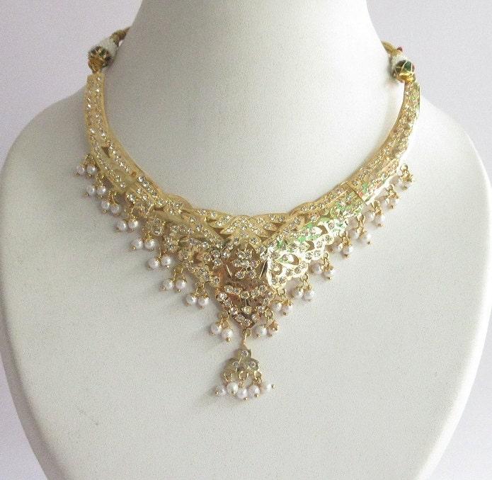 jadau gold necklace jewelry set with by beauteshoppe on etsy