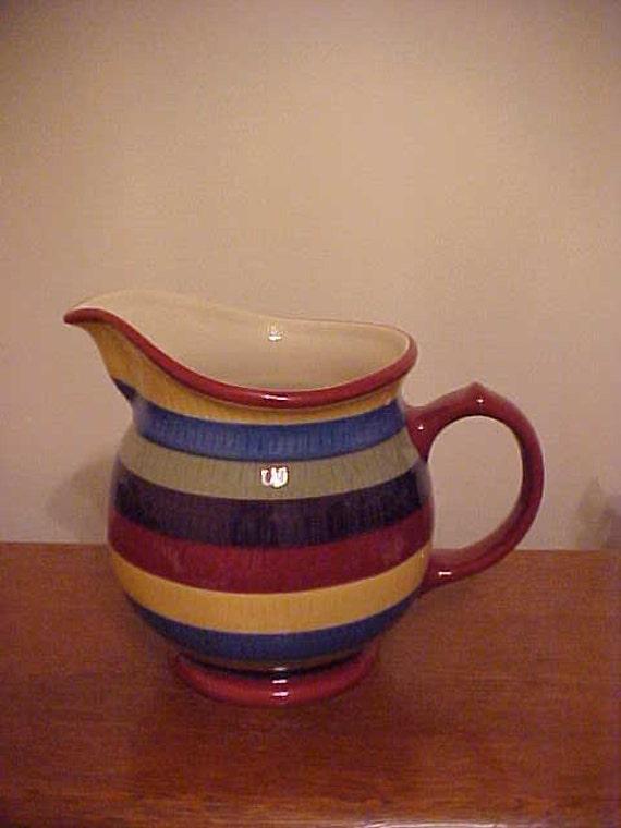 Multi Color Stripe Pattern Longaberger Pottery 64 Oz Pitcher