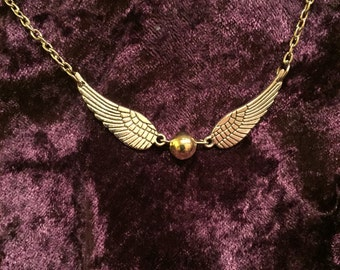 Harry Potter Golden Snitch Necklace, Quidditch Charm Necklace