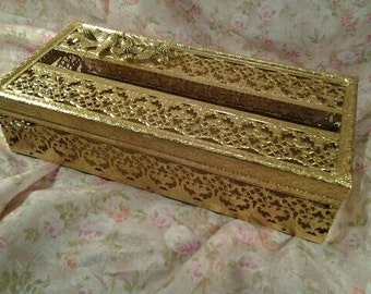 Vintage Gold Filigree Tissue Holder