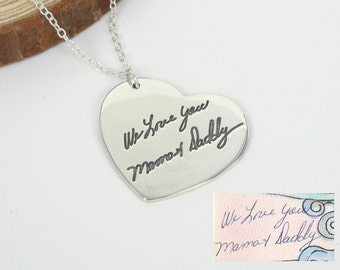Engraved Signature Necklace,Handwriting Necklace,Heart Jewelry,Personalized Necklace,Memorial Necklace,Custom Necklace,Anniversary Gift N016
