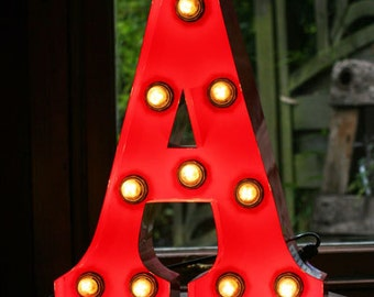 "15""/ 38cm Mains Powered Vintage Marquee Letter Light - Letter A - Floor Light - Letter Prop/Display - Available in Rusty or Red"