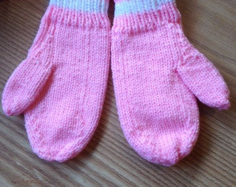 Children's Mittens, age 7 - 9 years old, Hand Knitted