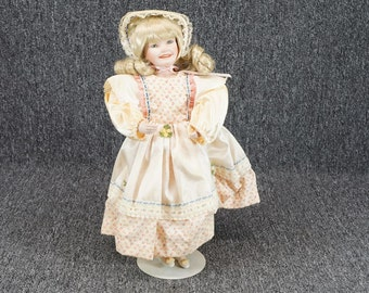 """Vintage Edwin M. Knowles Mary Had A Little Lamb 14"""" Porcelain Doll C. 1987"""