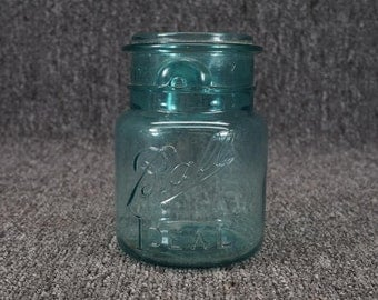 """Vintage Ball Ideal Canning Glass Jar Blue 5"""" C. 1908 (No Wire Or Lid)"""