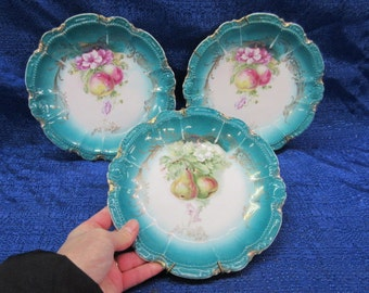 Vintage Teal Color Bavaria Fruit Plates with Hangers - Set of 3 Germany
