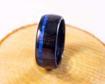 Wood Ring - Blue Lapis Ring - Ziricote Ring - Wood Rings For Men - Wooden Ring Men - Wooden Wedding Band - 5th Anniversary Gift