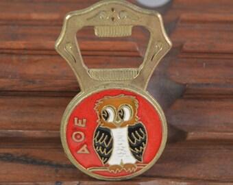 Vintage brass,enamel bottle opener,greek owl,parthenon figure