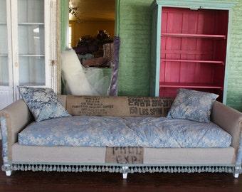 Re-Upholstered Burlap Sofa