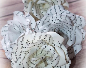 6 x Personalised Message Flower Paper Roses - Paper Flowers, 18th or 21st Birthday, Special Occasions, Romantic Gift, Wedding Anniversary