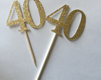Gold Glitter 40th Birthday Cupcake Toppers // Gold Glitter Cupcake Toppers