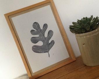 Original Lino Print, Oak Leaf. Lino Cut, Hand Pulled Lino - Made in Ireland ...