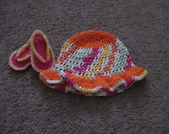 Crocheted Baby Sun Hat and Sandal Set-----Sizes Newborn to 3-6 months are available
