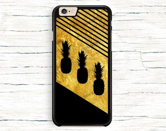 iPhone 6 Case, iPhone 6 Plus Case - Tropic Pineapples on Gold Texture, Black Stripes