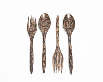 2 pairs. Wooden Flatware Spoons and Forks Wood Carved  - M046-PS