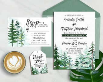 Forest Wedding Invitation, Winter Wedding Invitation, Pine Forest Wedding Invitation, Rustic Winter Wedding Invitation, In the Woods Wedding